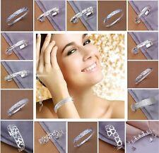 Hot 925 Solid Sterling Silver Bangle Women/Men Silver Bracelet Gift Jewellery