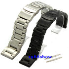 New 22 24 26 mm Heavy Brushed Double Lock Clasp Stainless Watch Band Bracelet
