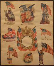 ANTIQUE AMERICAN CIVIL WAR PRINTS FLAGS SEWING UNION EARTH GLOBE NEWBURYPORT MA