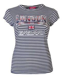 Womens T-Shirts Ladies Stripey London England Tops Union Jack Flag Souvenir Tee