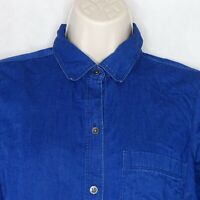 Old Navy Classic Chambray Collared Shirt Women Size S Blue Button Up Long Sleeve