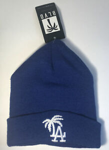NEW WITH TAGS Los Angeles Dodgers Hat Cap Beanie Blue One Size Fit Palm Tree