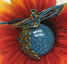 Blue Moon Peacock Pendant Seed Bead Fashion Statement Necklace