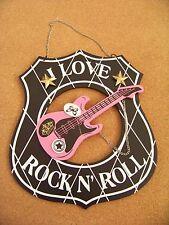 "I Love Rock N' Roll composite wood ? sign 9.5"" x 11"" black white pink gold stars"