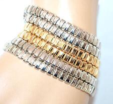 BRACCIALE donna argento oro polsiera maglie acciaio bigiotteria idea regalo F250