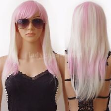 Hot Long Cosplay Wig Curly Straight Costume Full Wigs With Bangs Hair Women g3q