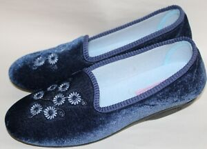 Zedzzz  flower embroidered slip on tab slippers Sty Cathy  ls308 Col Blue 8 new