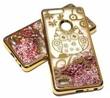 For ZTE SEQUOIA / BLADE Z MAX Z982 GOLD OWL Pink Glitter Stars Liquid Water Case