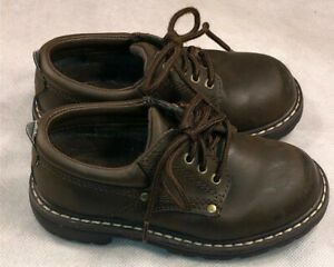 Boys School Shoes Faded Glory Brown Lace Up Oxford Faux Leather Size 10