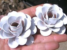 TWO Large White roses, metal flowers, accents, embellishments, crafting, jewelry