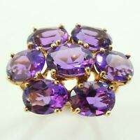 8.5ct Amethyst Womens Cluster Ring - Solid 9ct Gold