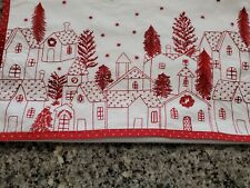 Pottery Barn Village Table Runner White Red dots Embroidered Christmas Holiday