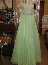 Sherri Hill 1944 Light Green Beaded Prom Pageant Gown Dress sz 0