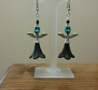 day of the dead angel dangle earrings