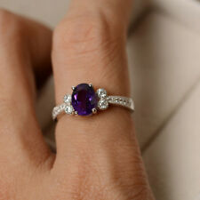 14K Hallmarked White Gold 1.65 Ct Natural Diamond Oval Cut Real Amethyst Ring