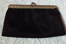 Vintage Little Satin Type Frame Pouch Clutch Evening Bag With Gold Metal Frame