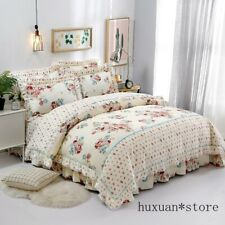 Pink Floral Elegant Korea Style Ruffles Duvet Cover Bed Sheet Queen King Cotton