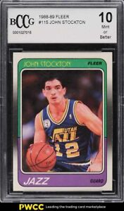 1988 Fleer Basketball John Stockton ROOKIE RC #115 BCCG 10