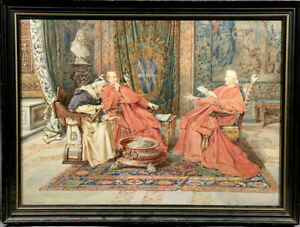 ITALIAN  Religious Watercolor on Paper three Cardinals Chatting by Petro Pavesi