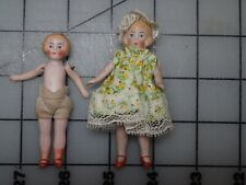 Antique Lot of 2 German All Bisque Dollhouse Dolls Jointed Arms and Legs