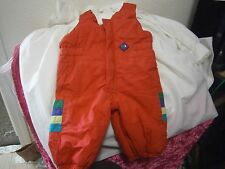 Unisex infant snow bibs, sz newborn to 3 mos red insulated zipper crotch-front