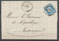 1876 Lettre Convoyeur Station B.BES MONTFERRAND DOUBS(24) SUP X2572