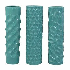 Aspire Home Accents 9682 Whitney Teal Ceramic Vases (Set of 3)