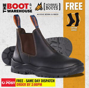 Mongrel 916030 Work Boots. Non Safety, Brown Oil Kip. Elastic Sided. Brand New!