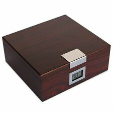 Cherry Finish Cedar Humidor with Front Digital Hygrometer (Holds 25-50)