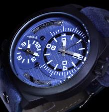 Akzent Herren Armband Uhr Blau Schwarz Nieten Dualtimer 2 Uhrwerke