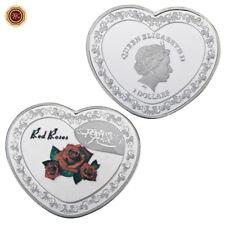 WR Pièce commémorative en argent rose rouge en forme de cœur pour toujours