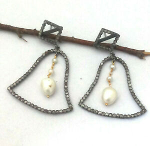 925 Sterling Silver Natural Diamond & Freshwater Pearl Earring Handmade Jewelry