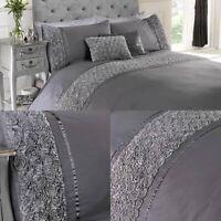 Grey Duvet Limoges Floral Cover Set Luxury Cotton Bedding Sheets Double Roses