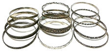 STERLING SILVER BANGLE FLORAL FLOWER TWIST STACKABLE STACKING BRACELET LOT OF 12
