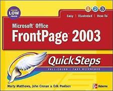 Microsoft Office FrontPage 2003 QuickSteps, Cronan, John, Matthews, Martin S, Ve