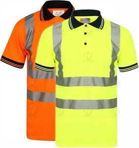 Hi Viz Vis Polo T-Shirt Top High Visibility Safety Security Work Reflective Tape