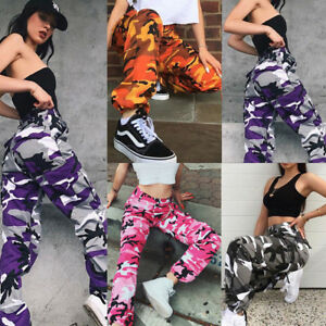 Womens Camo Cargo Trousers Casual Hip-hop Military Army Combat Camouflage Pants