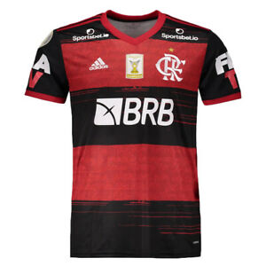 Flamengo Home w/ Sponsor & Patch Soccer Football Jersey 2020 2021 Adidas Brazil