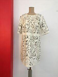 Portmans 12 M REAL Leather Dress Creme Cut Outs RARITY