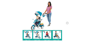 Little Tikes Perfect Fit 4-in-1 Trike, Teal - Convertible Toddler Tricycle