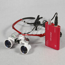Occhiali Ingrandenti Ingrandenti Chirurgia 3,5x + FARETTO LUCE LED Dentista Red