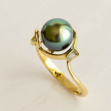 TAHITIAN PEARL RING 9mm CULTURED PEACOCK GREEN PEARL DIAMOND 9K GOLD SIZE O NEW