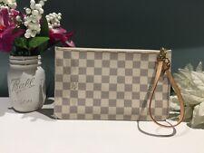 New LOUIS VUITTON Damier Azur Pochette Bag Clutch Wristlet From Neverfull MM