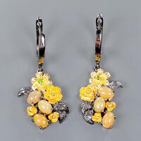 Opal Earrings Silver 925 Sterling Fine Art Jewelry   /E41360