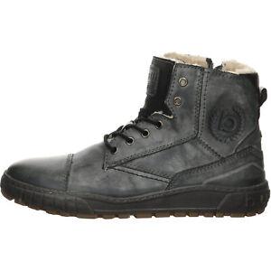 bugatti Tijuana Boots Herren Schuhe Freizeitstiefel Glattleder uni grau 10374