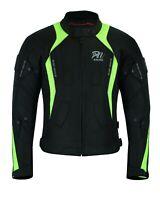 Hiviz Green Motorcycle Waterproof Cordura Textile Jacket Motorbike CE Armour