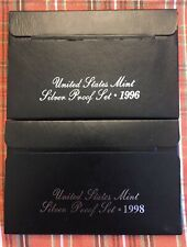 1996 And 1998 US Mint Silver Proof Sets with box and COA