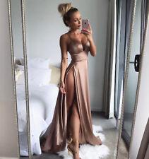 Abito lungo aperto nudo scollo Satinato Spacco Cerimonia Slit Party Dress S