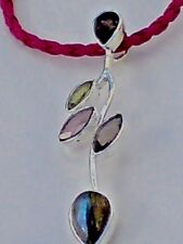 "STERLING SILVER 65mm PENDANT with 5 SEMI-PRECIOUS STONES on a 18""THONG £19.95nwt"