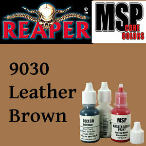 LEATHER BROWN 9030 - MSP core 15ml 1/2oz paint pot peinture REAPER MINIATURE